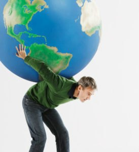 Man Carrying Huge Globe On Back Against White Background Stock Photo ...